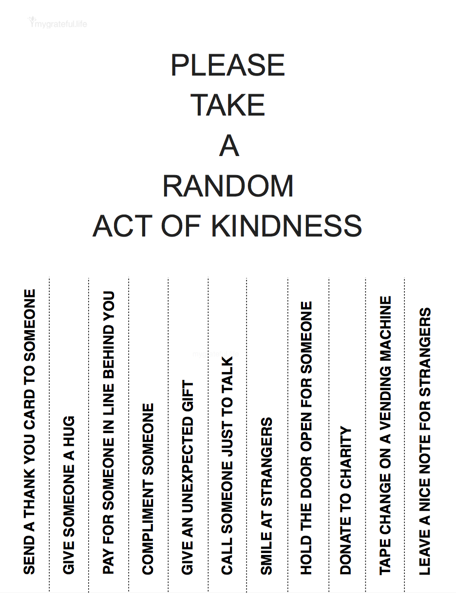 photo about Random Act of Kindness Printable referred to as Random Functions of Kindness Printable Flyer My Thankful Existence